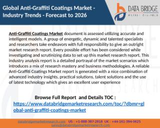 Anti-Graffiti Coatings Market expected to grow at CAGR of 3.95% in the Forecast period to 2026 By Top Manufactures BASF SE, DowDuPont, 3M, Akzo Nobel N.V., Sika AG, Hydron Protective Coati.pptx